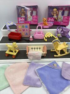 Lot of 2 Barbie Doll  Babies Blankets Bottle Bassinet Cat And more!