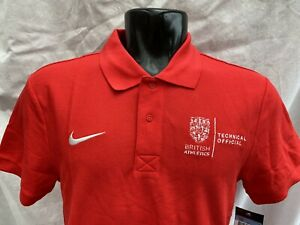British Athletics Nike polo Shirt - technical official Size M -New With Tags red