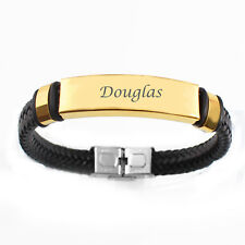 Douglas - Name Bracelet - Engraved Id Gold & Black Genuine Leather Braided Gifts
