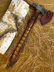 LOUIS MARTIN CUSTOM DAMASCUS STEEL ART PIPE TOMAHAWK KNIFE,HATCHET, AXE,INTEGRAL
