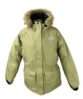 THE NORTH FACE Puffer Jacket Parka Goose Down Womens Size M Arctic Beige Khaki