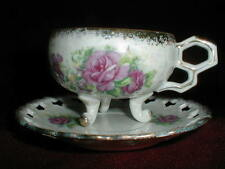 Japanese Porcelain 3 Footed Pierced Rim Pink Rose Lustreware Cup Saucer- Japan