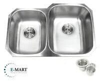 "32"" Stainless Steel Double 40/60 Bowl 18 Gauge Undermount Kitchen Sink &Strainer"