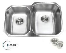 "New listing 32"" Stainless Steel Double 40/60 Bowl 18 Gauge Undermount Kitchen Sink &Strainer"