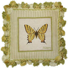 "12"" x 12"" Handmade Wool Needlepoint Swallowtail Butterfly Pillow with Tassels"