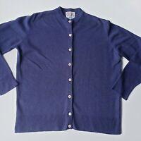 Vintage ORVIS 100% Cashmere cardigan Sweater Jacques Deloux Size Medium 42 navy