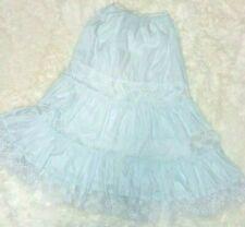 Vintage Light Blue Nylon Blend Half Slip Size Small Lace Frilly