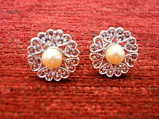 VINTAGE STERLING SILVER MARCASITE EARRINGS W/SIM. PEARLS - AMAZING CONDITION