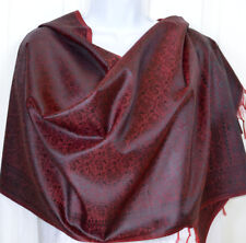 Banaras Silk Burgundy Black Woven Paisley Design Shawl, Wrap, Stole