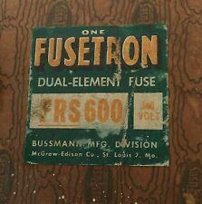 Bussmann - Fusetron FRS-600 Dual Element Fuse; NEW; Original Box