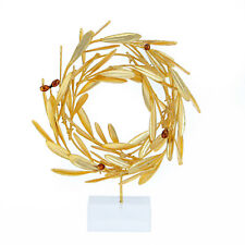 Olive Wreath - Real Natural Plant - Handmade 24k Gold Plated on Plexiglass-Small