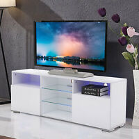 High Gloss White 58'' TV Stand Unit Cabinet with LED Light 2 Doors Console RC
