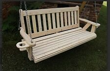 Home 5 Ft Amish Heavy Duty Mission Style Porch Swing with Cupholders Made in USA