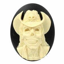 40x30mm Cowboy Zombie Resin Cameo Black Ivory Walking Dead Skull Skeleton 838x