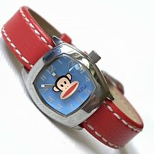 Paul Frank Julius And Friends Women's Silver Small 22mm Watch Red Strap RUNS