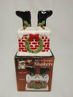Giftco Vintage Ceramic Christmas Santa Down Chimney Salt Pepper Shakers 3 Piece