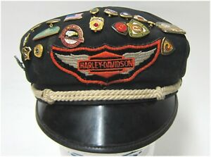 Harley-Davidson Used Vintage 50's Style Cotton Hat with AMA Emblems 7-1/8