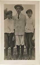 RPPC Real Photo Postcard ~ Three Boys Wearing Knickers & Caps
