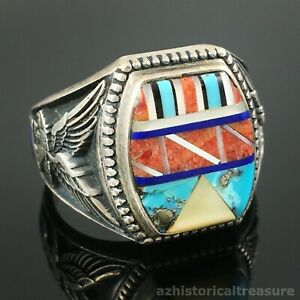 CAT - HANDMADE STERLING SILVER MULTI-STONE INLAY EAGLE RING