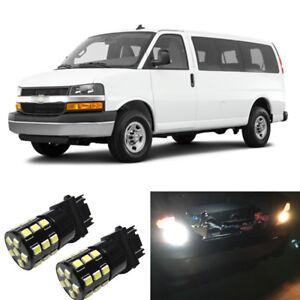 White LED 3156 3157 Backup Reverse Light Bulbs For 2003-2016 Chevy Express