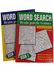 2 x Word Search Brain Puzzle Games - 272 Puzzles, A4 Books 1 & 2