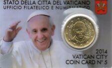 COINCARD VATICAN N° 5  50 Centimes  BU A EFFIGIE PAPE FRANCOIS 2014