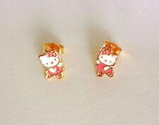 18kGF Gold Pink Hello Kitty BALLERINA Ballet Dance Girls Stud Earrings FREE Box