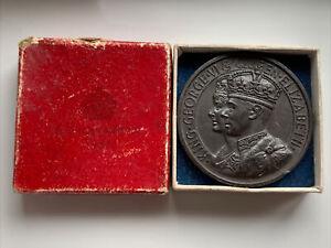 BOXED BRONZE CORONATION 1937 KING GEORGE VI QUEEN ELIZABETH MEDAL 45mm