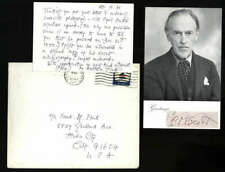 """Cyril Scott D.1970 Composer Photo With Cut Signature & Wife Signed 3"""" x 5"""" Post"""