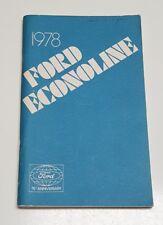 1978 FORD ECONOLINE CLUB WAGON E150 E250 E350 OWNERS MANUAL OPERATORS USER GUIDE