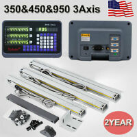US! 3Axis Digital Readout DRO Display TTL Linear Glass Scale 350&450&950mm Mill