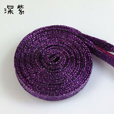 Glitter Flat Shoelaces Satin Shoe Laces Athletic Sport Shoes Gold Silver thread