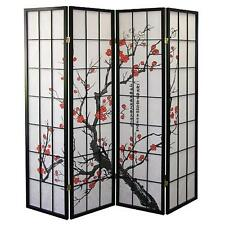 Legacy Decor 4-panel Plum Blossom Screen Room Divider Black