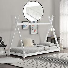 [en.casa] Cama para niños pequeños + Colchón 90x200cm Tipi India Pino Blanco