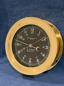 **Fully Restored** 1943 WWII US NAVY 12/24hr. Chelsea Ships Clock
