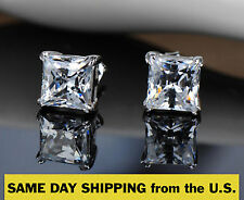 Sterling Silver 925 Princess Stud Earrings Made with Swarovski Zirconia 2 cttw