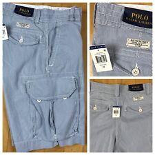 NEW Polo Ralph Lauren Pinstripe Cargo Chino Shorts Blue & White Mens Size 29