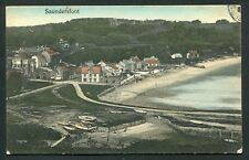 Saundersfoot beach sea houses boats view old vintage postcard