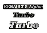 LOGO RENAULT 5 ALPINE TURBO MONOGRAMME CHROME KIT DE 3 LOGOS