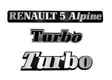 LOGO RENAULT 5 ALPINE TURBO MONOGRAMME CHROME KIT DE 3 LOGOS