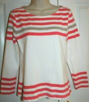 J. Crew Women's Ivory Cotton Long Sleeve Cotton Tunic with Coral & Tan Stripes S