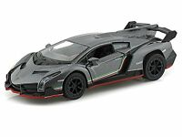 "Brand New 5"" Kinsmart Lamborghini Veneno Diecast Model Toy Car 1:36 Grey"