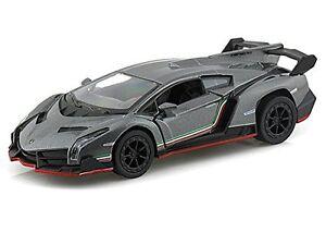 "Brand New 5"" Kinsmart Lamborghini Veneno Diecast Model Toy Car 1:36 Grey"