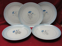 "Five (5) BING & GRONDAHL - CORNFLOWER BLUE Pattern -  7"" DESSERT PLATES #27"