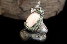 Schmuck Ring Drache Tier Motiv 750er Weißgold Rubin Koralle Diamanten Tsavorit