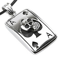 Biker Shack - Ace of Spades Skull Dog Tag - Stainless Steel Pendant