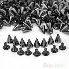 100 PCS Trendy 10MM Silver Spots Cone Screw Metal Studs Rivet Bullet Spikes BGBU