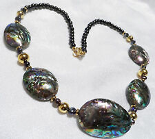 Lee Sands Abalone Shell and Cultured Pearl Necklace 22 inches
