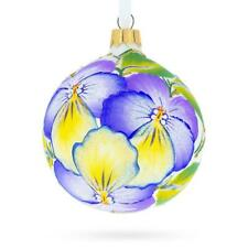 Pansies Glass Christmas Ornament 3.25 Inches