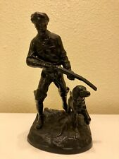 Russian Kasli Cast Iron Figure Hunter And Dog.